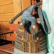 Классическая сумка ручной работы. Ярмарка Мастеров - ручная работа Джинсовая сумка. Японский узелок.. Handmade.