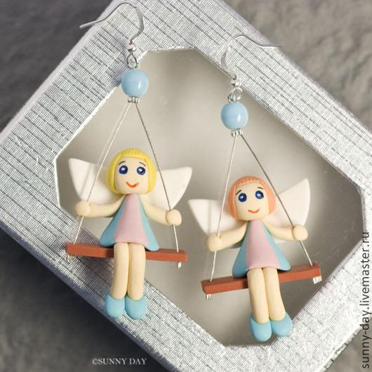 Серьги ручной работы. Ярмарка Мастеров - ручная работа. Купить Серьги с ангелами. Handmade. Ангел, забавный, купить сережки