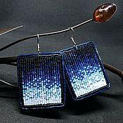 Украшения ручной работы. Ярмарка Мастеров - ручная работа Серьги синий градиент. Handmade.