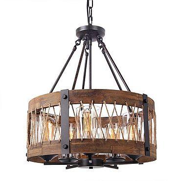 Освещение ручной работы. Ярмарка Мастеров - ручная работа Люстра лофт круглая wood&steel. Handmade.