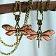 Подвеска кулон стрекоза с росписью и эпоксидкой на цепочке, купить подвеску кулон в виде стрекозы на цепочке, украшения с эпоксидкой и росписью, красная подвеска кулон,кулон подвеска стрекоза купить