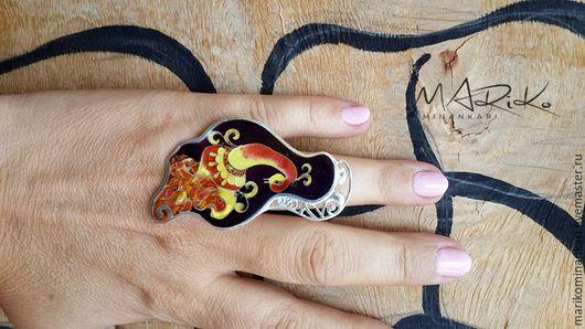 Кольца ручной работы. Ярмарка Мастеров - ручная работа. Купить Кольцо Птица-сказка с перегородчатой эмалью. Handmade. Черный, минанкари