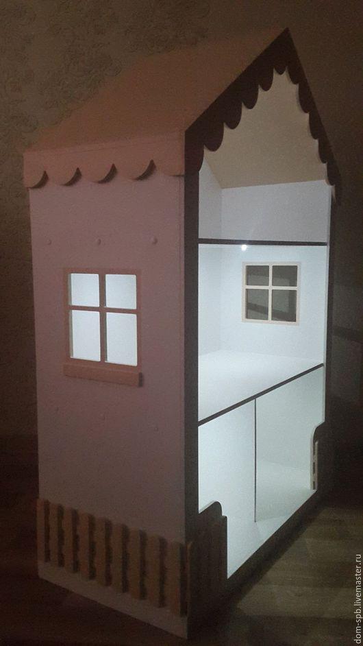 Кукольный дом ручной работы. Ярмарка Мастеров - ручная работа. Купить Кукольный домик со светом. Handmade. Бежевый, батарейка