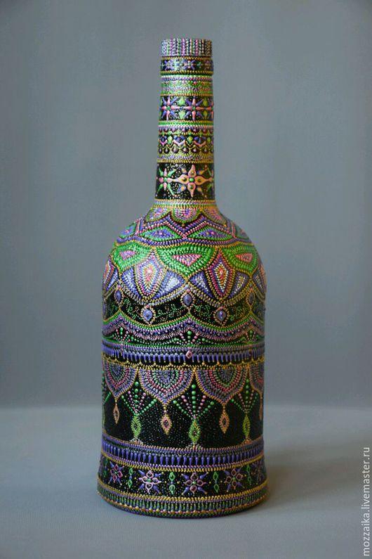 Бутылка в точечной росписи `Арабская ночь`