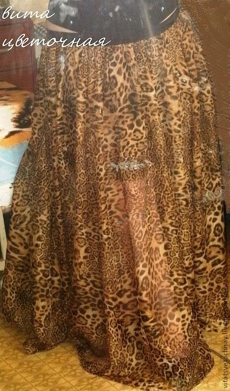 Юбки ручной работы. Ярмарка Мастеров - ручная работа. Купить Летящая шифоновая юбка с лео-принтом. Handmade. Звериная расцветка