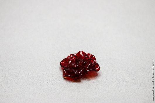 """Для украшений ручной работы. Ярмарка Мастеров - ручная работа. Купить """"Рубиновая роза"""" (крупная). Handmade. Бордовый, стеклянная роза"""