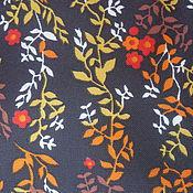 Материалы для творчества ручной работы. Ярмарка Мастеров - ручная работа Ткань винтажная коричневая с мелкими цветами. Handmade.