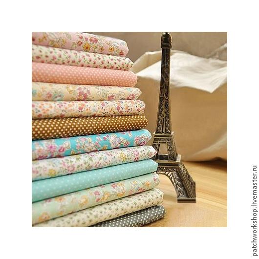 Шитье ручной работы. Ярмарка Мастеров - ручная работа. Купить Набор тканей пэчворк (поплин розово-голубой). Handmade. Ткань