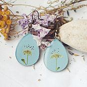 Украшения ручной работы. Ярмарка Мастеров - ручная работа Серьги капли голубые с сухоцветами (цветы вишни). Handmade.