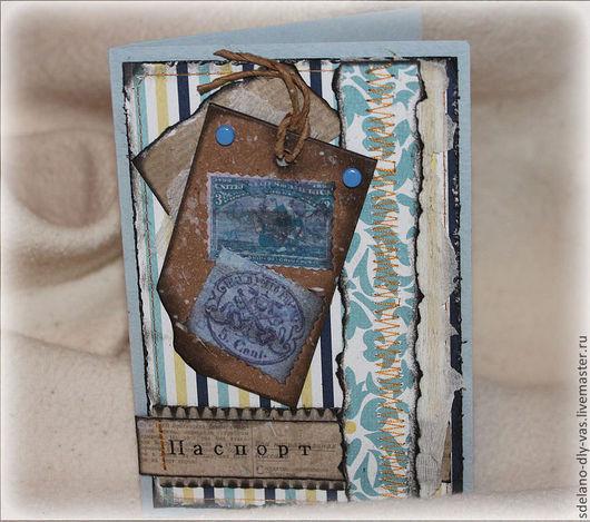 обложка ручной работы, обложка на паспорт скрапбукинг, обложка на документы, оригинальный подарок, обложка на загранпаспорт, практичный и недорогой подарок подарок мужчине, юноше,подростку, 23 февраля