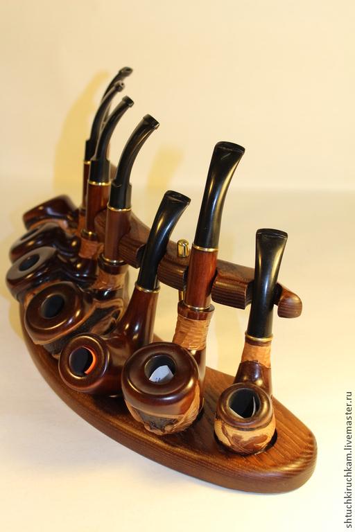 Персональные подарки ручной работы. Ярмарка Мастеров - ручная работа. Купить Подставка для семи трубок. Handmade. Коричневый, дерево, дерево