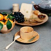 Посуда handmade. Livemaster - original item Coffee steam Cedar (Mug saucer spoon) from the Siberian Cedar #NC19. Handmade.