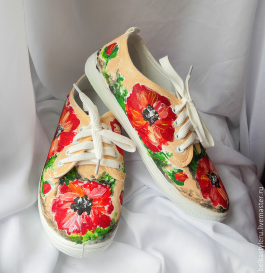 """Обувь ручной работы. Ярмарка Мастеров - ручная работа. Купить Кеды женские  """"Маки"""", кеды с рисунком, роспись кед.. Handmade."""