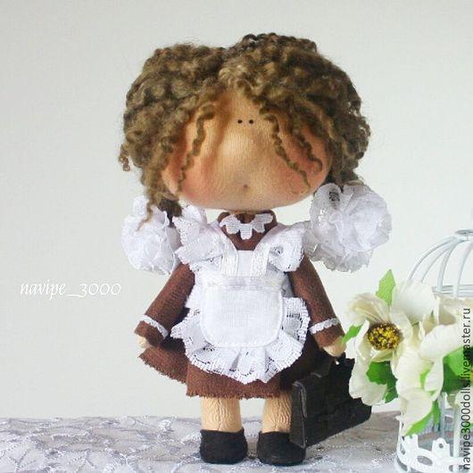 Куклы тыквоголовки ручной работы. Ярмарка Мастеров - ручная работа. Купить Школьница (17см). Handmade. Кукла ручной работы