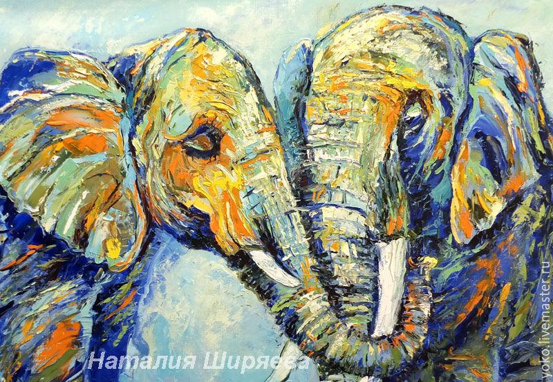 "Buy ""I Love You"" oil painting with elephants - elephant, love - photo#24"