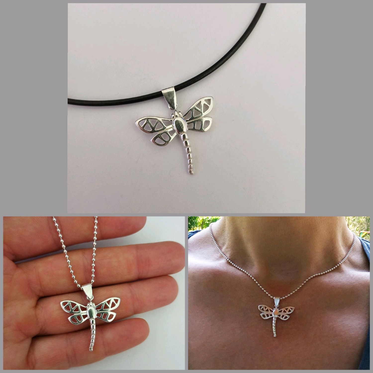 Silver dragonfly pendant 3. Decoration for summer. Decoration on the neck, Pendant, Turin,  Фото №1