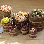 Куклы и игрушки ручной работы. Ярмарка Мастеров - ручная работа Фрукты и ягоды в бочках  и вёдрах. Handmade.