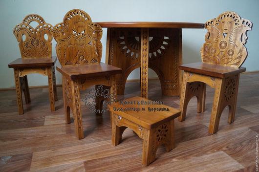 Детская ручной работы. Ярмарка Мастеров - ручная работа. Купить Гарнитур детский Стол, стулья, подставка Солнышко. Handmade.