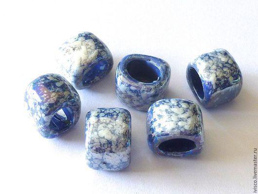 Для украшений ручной работы. Ярмарка Мастеров - ручная работа. Купить Керамические бусины для браслетов Regaliz лазуритовые. Handmade. Синий