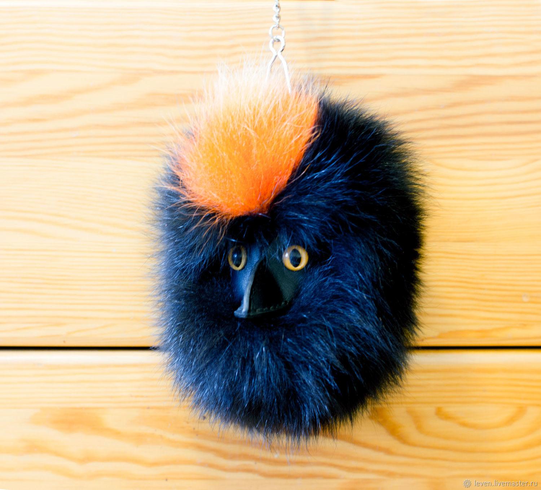 Помпон-птица из натурального меха песца, брелок меховой, оранжевый