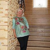 """Одежда ручной работы. Ярмарка Мастеров - ручная работа """"Eucalyptus flowers""""  свитер нуновойлок продан. Handmade."""
