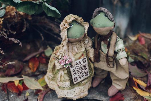 Ароматизированные куклы ручной работы. Ярмарка Мастеров - ручная работа. Купить Квакины.. Handmade. Зеленый, кантри, пара, декоративные пуговицы