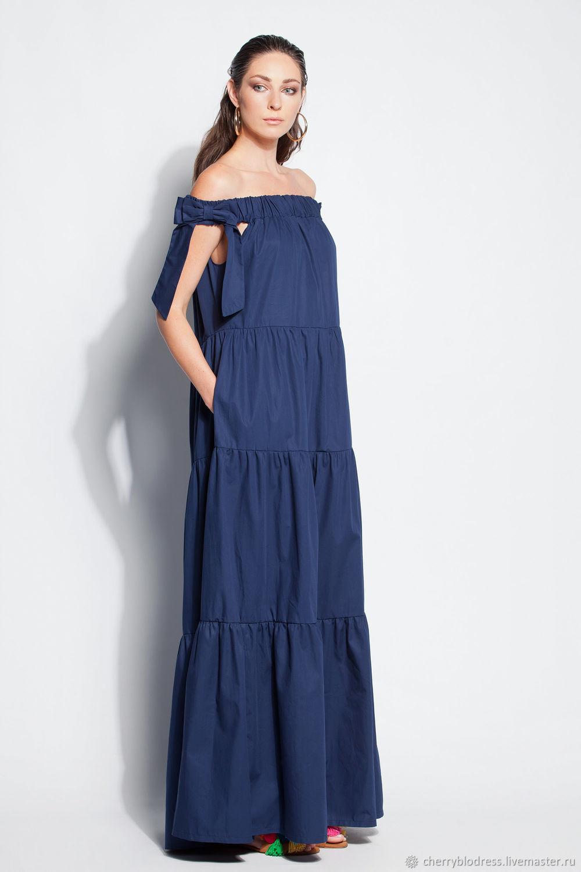 9ee6c5fa69c Ярмарка Мастеров - ручная работа. Купить Хлопковое синее макси бохо длинное  Платья ручной работы. Хлопковое синее макси бохо длинное платье с открытыми  ...