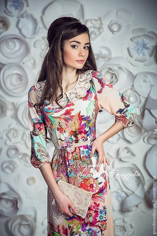 """Платья ручной работы. Ярмарка Мастеров - ручная работа. Купить """"Элизабет"""",  шелковое платье с воротничком. Handmade. Цветочный, цветы"""