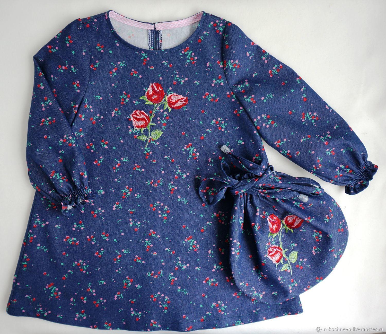Платье с розой джинсовое