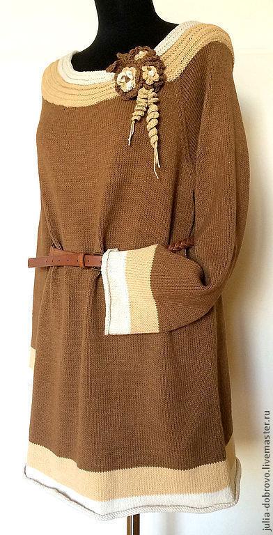 """Большие размеры ручной работы. Ярмарка Мастеров - ручная работа. Купить Туника мини-платье джемпер из хлопка с акрилом """"Крем-брюле"""". Handmade."""