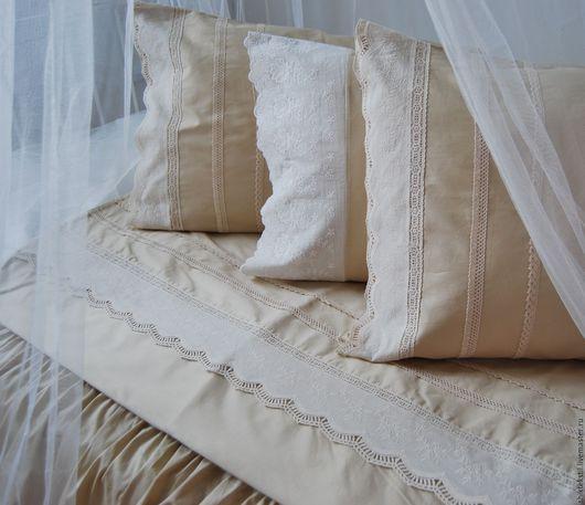 Текстиль, ковры ручной работы. Ярмарка Мастеров - ручная работа. Купить Постельное белье в провнском стиле с подзором цвет бежевый. Handmade.