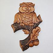 """Картины и панно ручной работы. Ярмарка Мастеров - ручная работа Панно """"Сова на дубовой ветке"""". Handmade."""