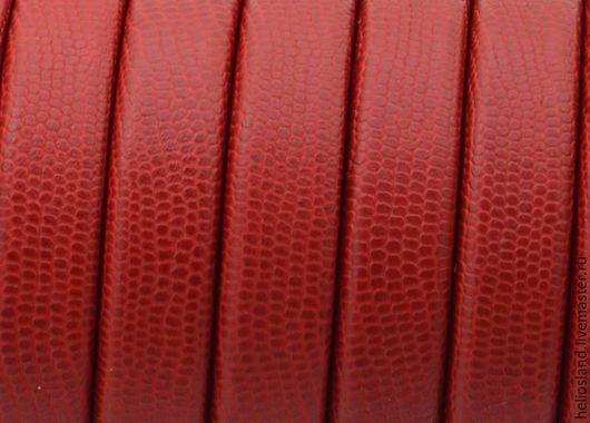 Для украшений ручной работы. Ярмарка Мастеров - ручная работа. Купить Кожаный шнур REGALIZ красный с принтом. Handmade. Регализ