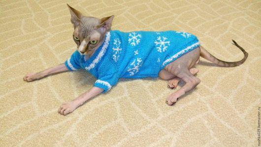 Одежда для кошек, ручной работы. Ярмарка Мастеров - ручная работа. Купить Свитер со снежинками. Handmade. Бирюзовый, одежда для сфинкса