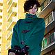 """Верхняя одежда ручной работы. Полупальто """"Эйре"""" Изумрудно-зелёное, яркое, тёплое на фетре.. Kseniya i Studiya dizajna 'KsMezo'. Ярмарка Мастеров."""