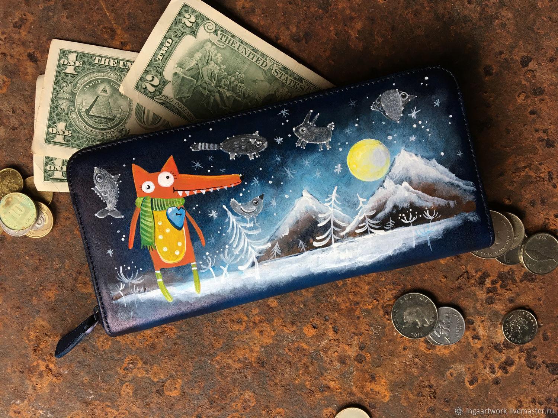 Long Fox wallet. Leather animal cash envelope wallet dark blue, Wallets, Trakai,  Фото №1