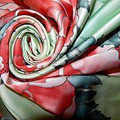 """Аксессуары ручной работы. Ярмарка Мастеров - ручная работа Платок батик """"Коралловые пионы"""". Handmade."""