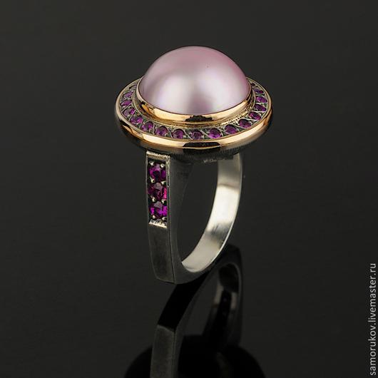 """Кольца ручной работы. Ярмарка Мастеров - ручная работа. Купить Кольцо """"Мабэ с рубинами"""". Handmade. Розовый, кольцо с рубинами"""
