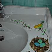 Декор ручной работы. Ярмарка Мастеров - ручная работа роспись сантехники в ванной комнате птички. Handmade.