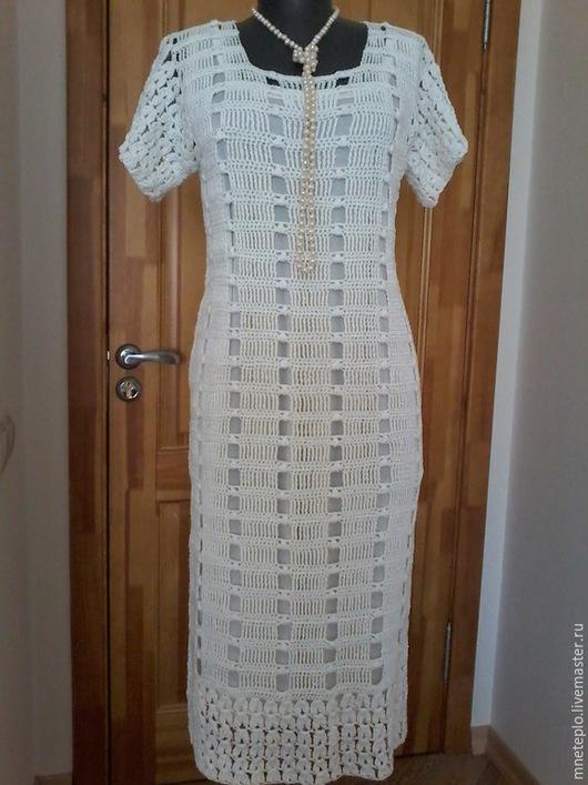 """Платья ручной работы. Ярмарка Мастеров - ручная работа. Купить платье вязаное крючком """"Жемчужина"""". Handmade. Белый, белое платье"""