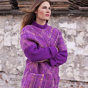 Одежда ручной работы. Ярмарка Мастеров - ручная работа Пальто на подкладке «Сиреневая клетка». Handmade.