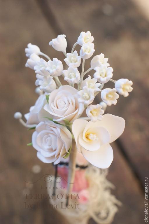 Веточка с розами, ландышами и фрезией. Полимерная глина. Terracotta by Elena Levit.