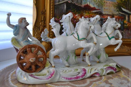 """Статуэтки ручной работы. Ярмарка Мастеров - ручная работа. Купить Cтатуэтка """"Римская колесница"""" редкая фарфор.Франция. конец 19 в. Handmade."""
