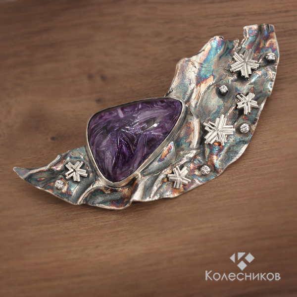 Brooch silver Starry night (charoite, silver), Brooches, Yaroslavl,  Фото №1