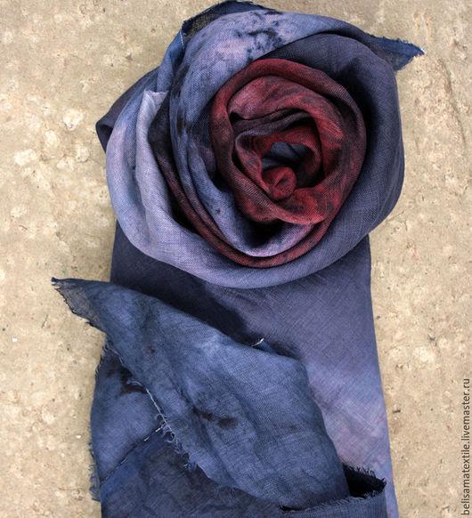 Шали, палантины ручной работы. Ярмарка Мастеров - ручная работа. Купить Льняной платок ручного крашения 'Бинди'. Handmade.