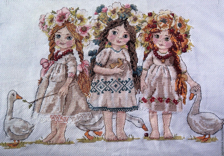Вышивка крестом картина девочек