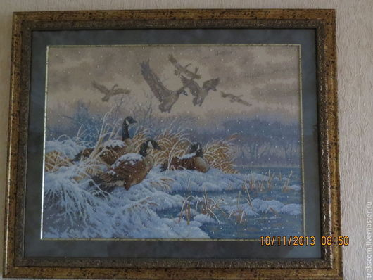 """Животные ручной работы. Ярмарка Мастеров - ручная работа. Купить Вышивка крестом """"Зимний перелет"""". Handmade. Утки, перелет"""