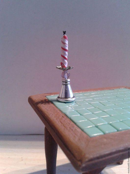 Кукольный дом ручной работы. Ярмарка Мастеров - ручная работа. Купить Подсвечник со свечой и Новогодний венок для кукольного домика. Handmade.