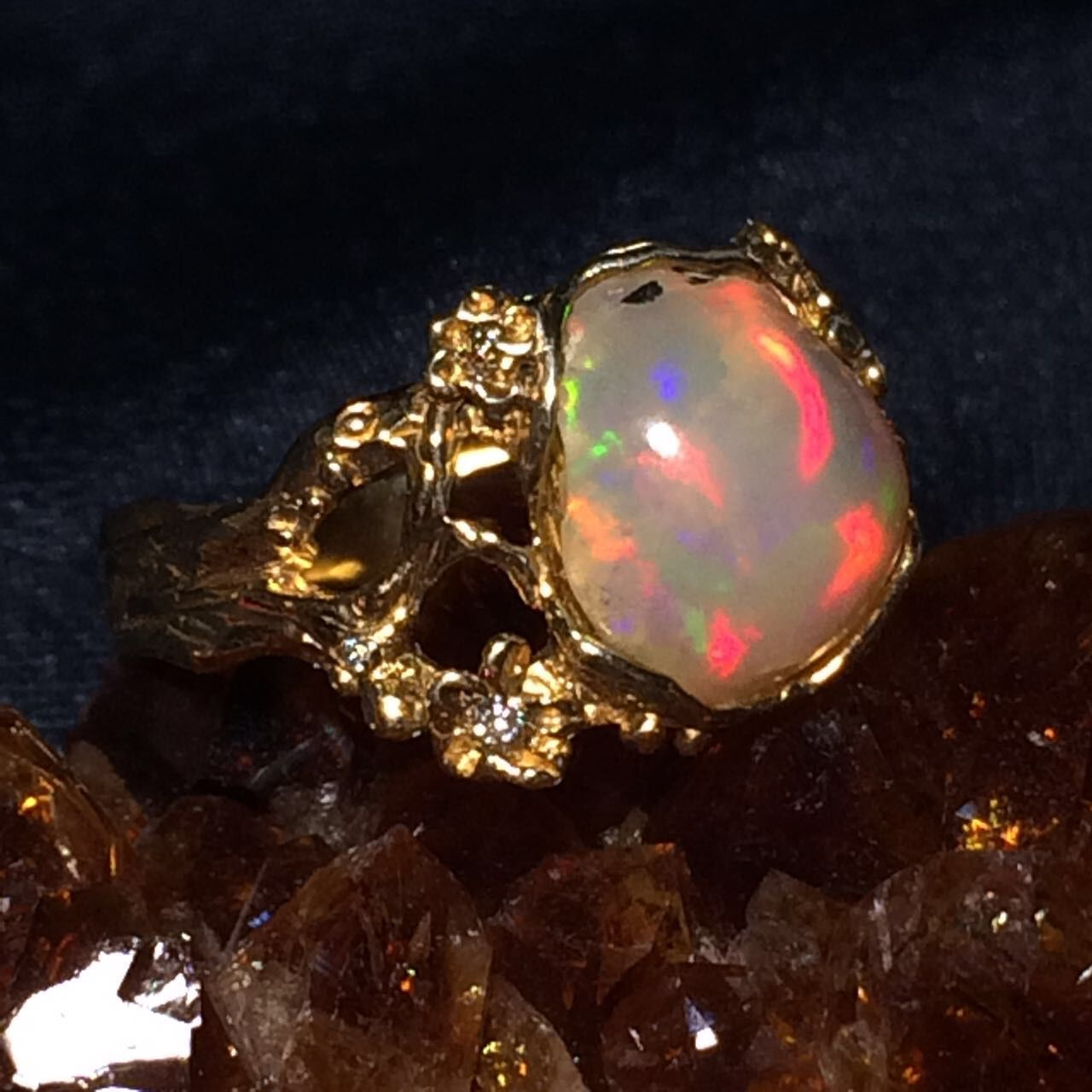 Ring 'Blossom' with opal and zircons, Rings, Moscow,  Фото №1