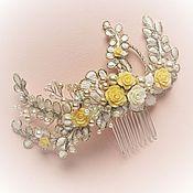 Свадебный салон ручной работы. Ярмарка Мастеров - ручная работа Свадебный гребень с желтыми розами. Handmade.